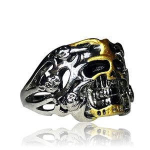 Unisex Gothic Gold Colored Skull Ring